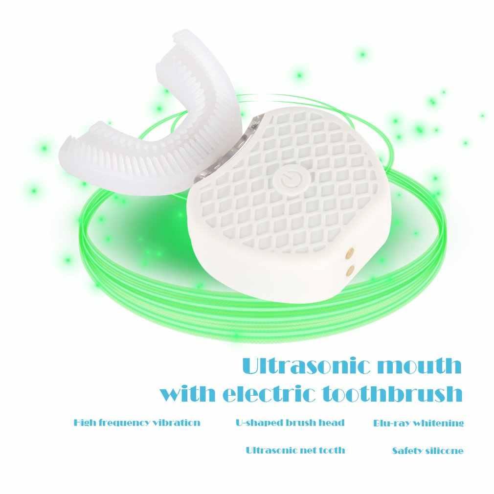 360 Derajat Cerdas Otomatis Sonic Sikat Gigi Listrik U Jenis Sikat Gigi USB Pengisian Gigi Pemutih Gigi Cahaya Biru
