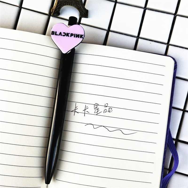 Kpop Blackpink Pu 노트북 Jennie Jisoo Lisa 로즈 소프트 카피 핑크 러브 하트 볼 펜 노트 패드 사무실 학교 용품 도구