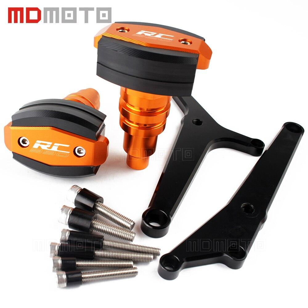 En aluminium CNC Pour KTM RC 390 RC390 2014-2017 orange/Noir Cadre Prolongée Sliders Roulettes Protection Moto Carénage garde couverture