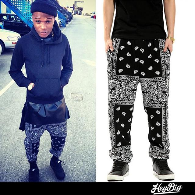 Heybig Fashion Hiphop Sweatpants Men West Coast Bandanna Mens Joggers Harem Pants Loose Pants Printed Summer Casual