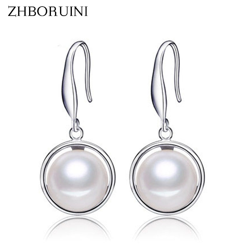 ZHBORUINI 2019 Pearl Earrings 9-10mm natural Pearl Earring 925 sterling Silver Jewelry For Women Fashion Jewelry Accessories