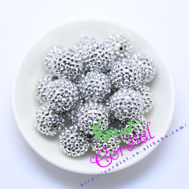 #44 Frete Grátis 20 MM 100 Pçs/lote Prata Chunky Resina Rhinestone Contas Chunky Beads Para Colar Fazer