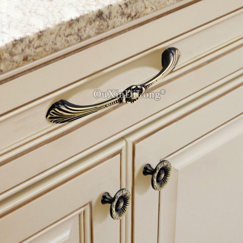 Elegant Designed 2PCS European Solid Brass Kitchen Cabinet Door Handles Cupboard Wardrobe Drawer TV Cabinet Pulls Handles Knobs in Cabinet Pulls from Home Improvement