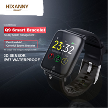 HIXANNY Q9 Blutdruck Herz Rate Monitor Smart Uhr IP67 Wasserdichte Sport Fitness Trakcer Men Frauen Smartwatch apple xiaomi