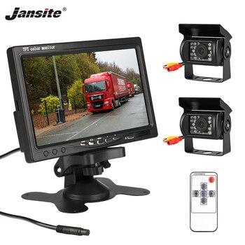 Jansite 7 Polegada com fio monitor do carro tft lcd câmera de visão traseira dois faixa câmera traseira monitor para o caminhão ônibus estacionamento sistema visão traseira