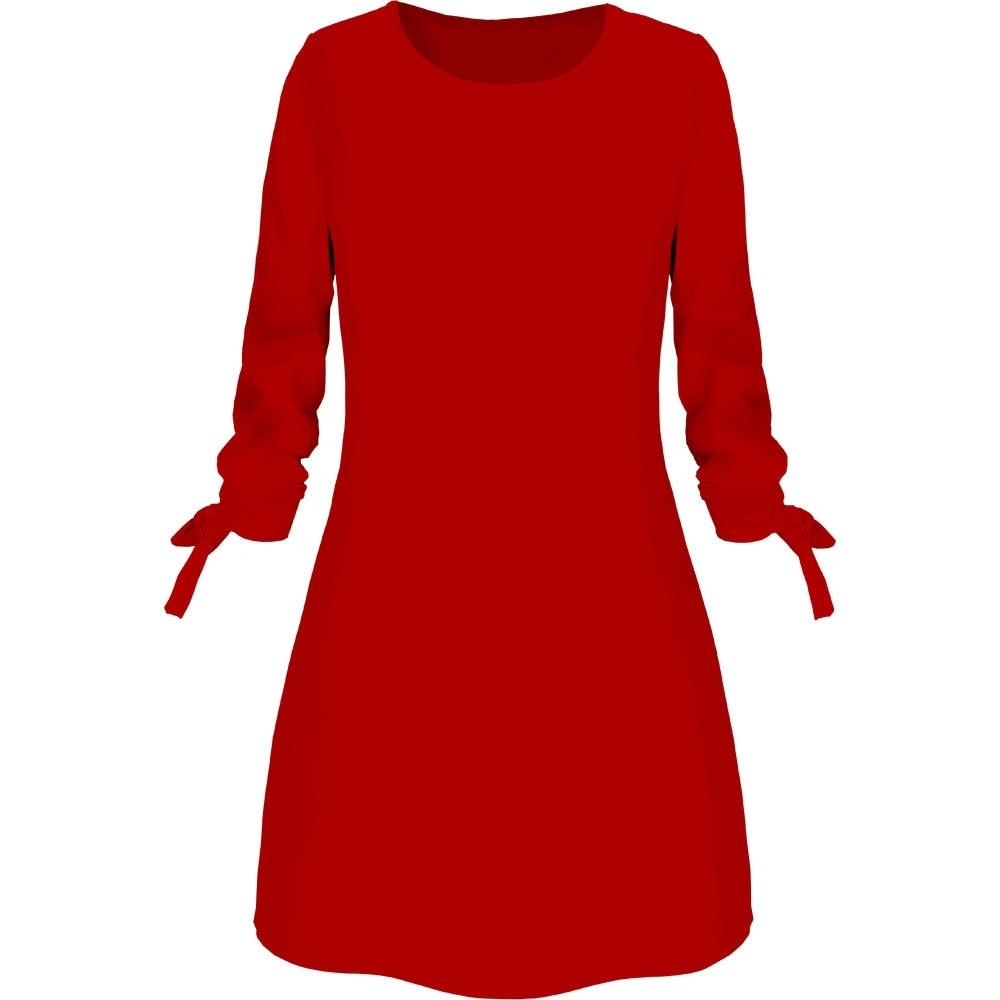 19 New Spring Fashion Solid Color Dress Casual O-Neck Loose Dresses Bow Elegant Beach Female Vestidos Plus Size 5XL 4