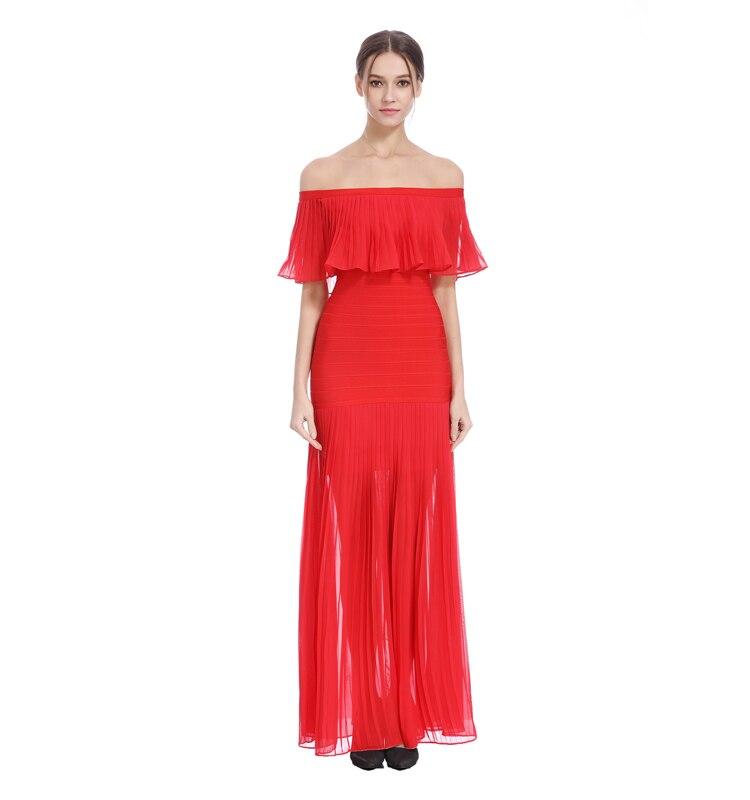Vestiti Rosso Partito Manicotto Vestito Il Farfalla Sera Dalla Della Nero rosso Del Fasciatura Lunghi Elegante Nero Slash Celebrità Collo g6vwxOqn1