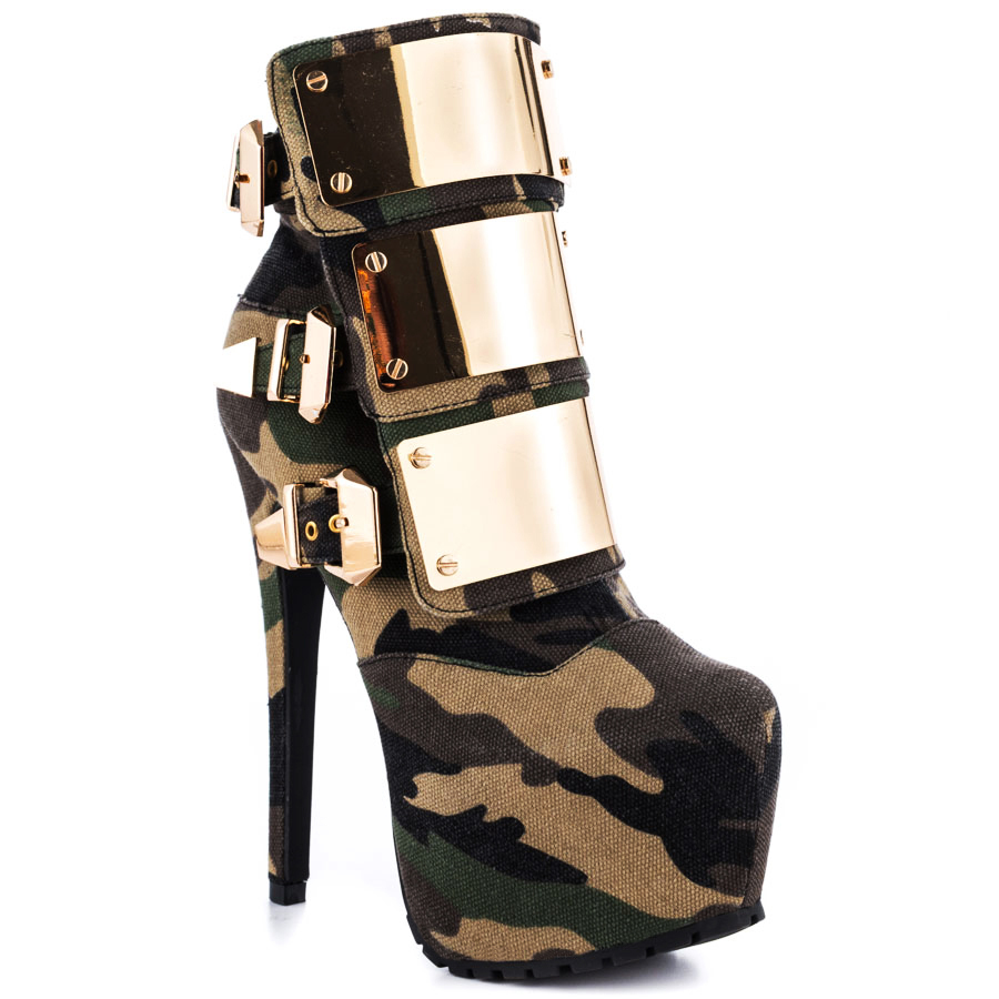 fashion stiletto high heel boots platform Camouflage ankle ...