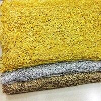 Lantejoulas Oco Out Bordado Fio de Ouro E Prata Guarnição Do Laço Pano Teia De Aranha Bordado dos Sequins Tecidos Mostram DIY