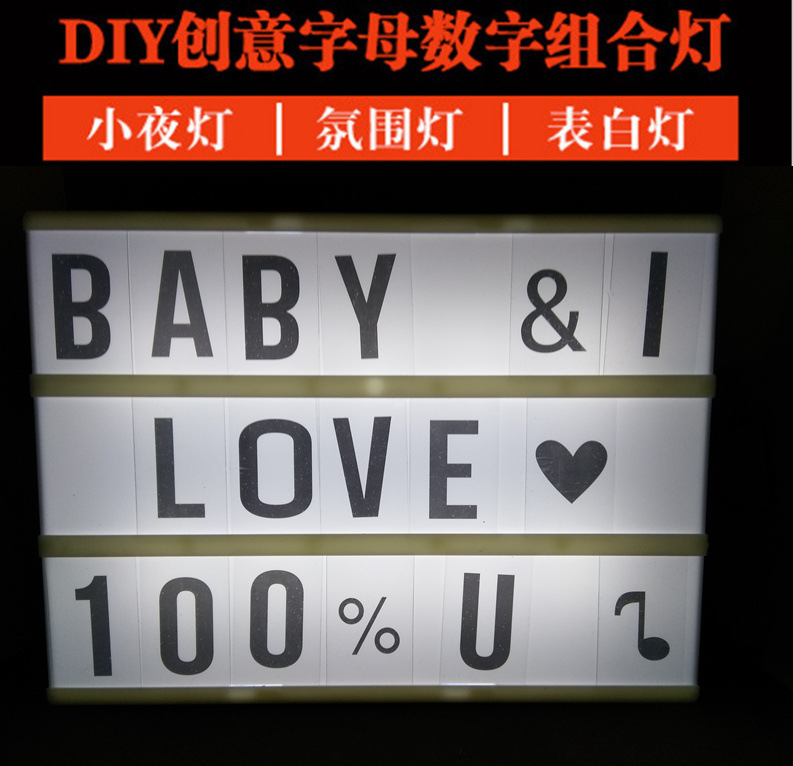 A4 Led Night Light Box with DIY Black Letters Table Lamp Acrylic Cinematic Light Box AA Battery or Usb Art Desk lamp For Gifts