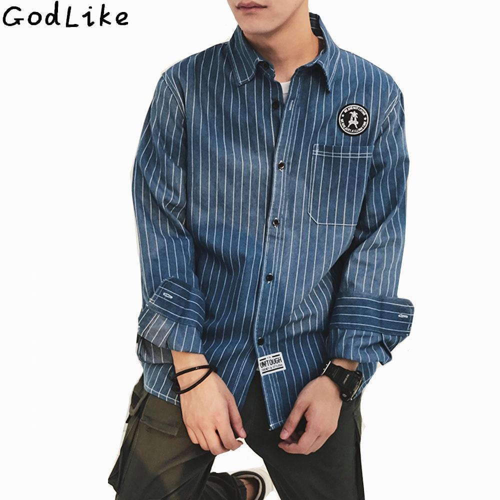 2017 font b Men s b font font b Denim b font Striped Shirt New Dress