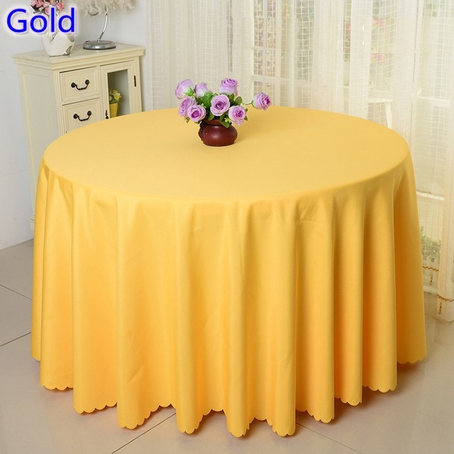 Gold Colour Table Cloth,polyester Table Cover,for Wedding,hotel And  Restaurant Round