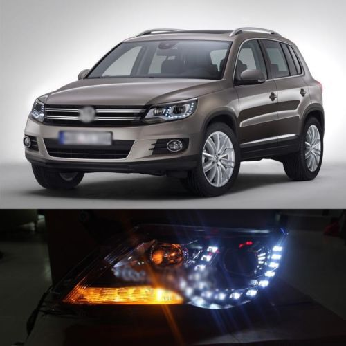 Ownsun Superb U Shape LED Headlight Angel Eye Projector Lens for VW Tiguan 2010-2012 Model ownsun new style tear drop led projector lens headlight for new ford focus 2012 2013