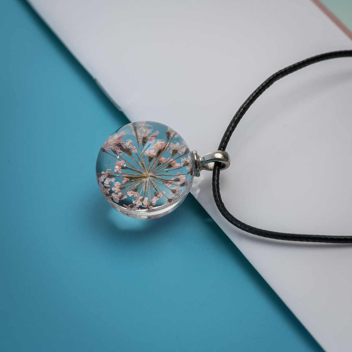 L 時間宝石広場ガラス花ネックレスペンダントチャーム工芸品ロングロープネックレス女性のための # FY316