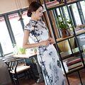 New Arrival Women's Satin Long Cheongsam Fashion Chinese Style Dress Elegant Slim Qipao Vestido Size S M L XL XXL XXXL 246078