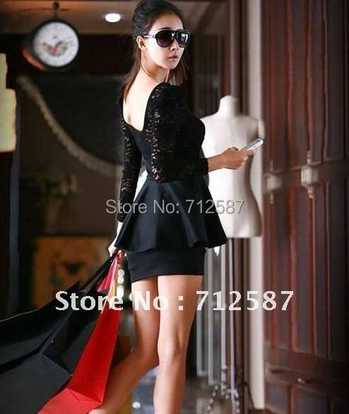 Women Sexy Elegant Black Lace Dress Cocktail Girls One-piece Cute Dress #5175