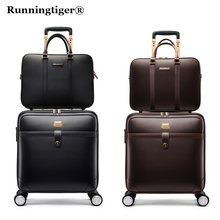 "Luxury Suitcase Set Men Women 's Travel Luggage Waterproof PVC leather Box Wheel 16""20""24"" inch Rolling Trolley case travel bags(China)"