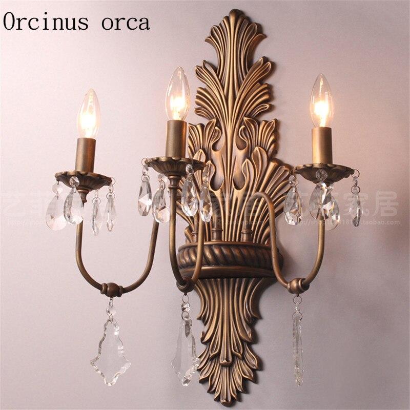 Высококачественная Роскошная американская Ретро медная настенная лампа вилла гостиная фон проходной французский прикроватный Хрустальны