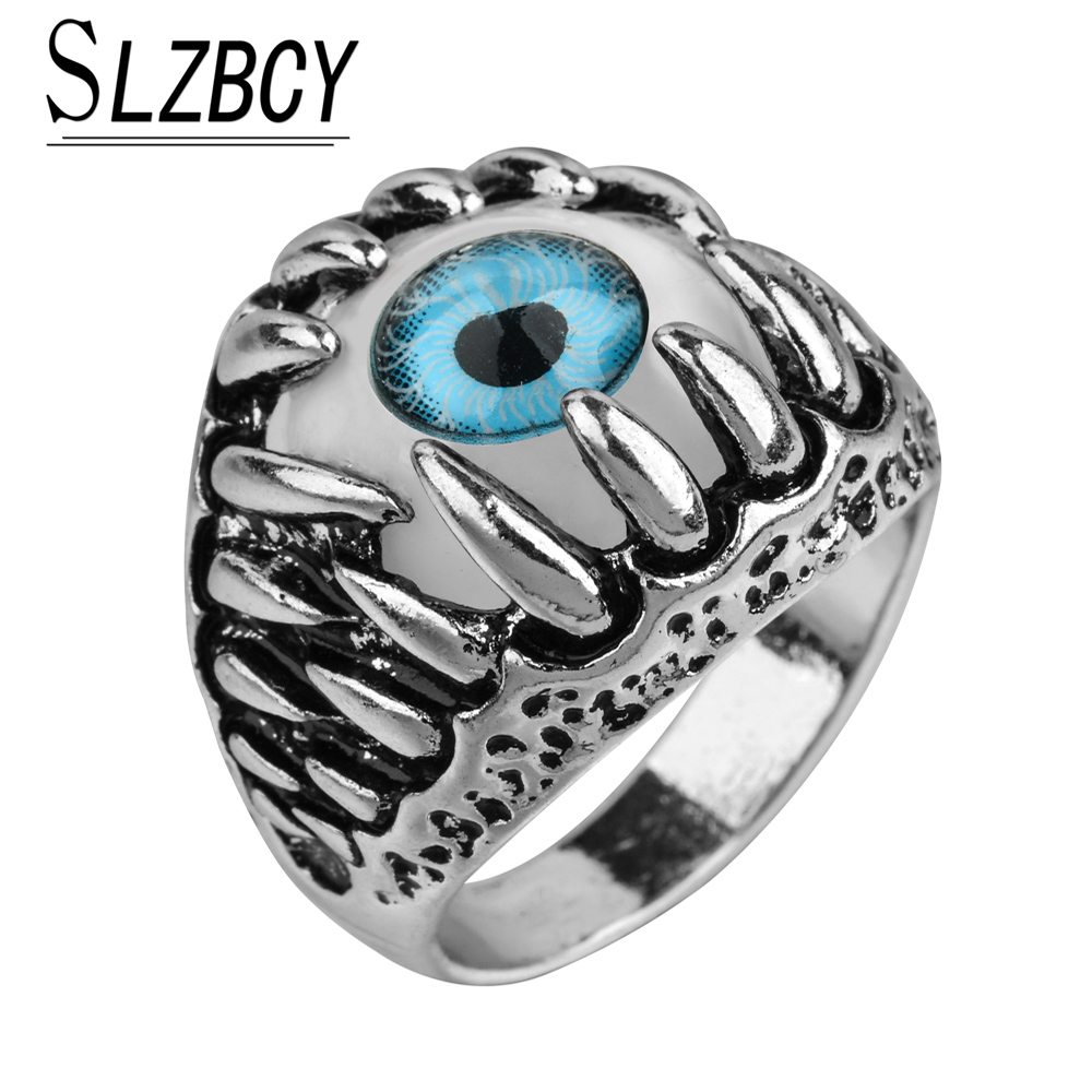 SLZBCY Men's Vintage Dragon Claw Evil Eye Ring Fashion Devil Eyeball Party Stainless Steel Rings Men Jewelry Anime Skull Hip Hop