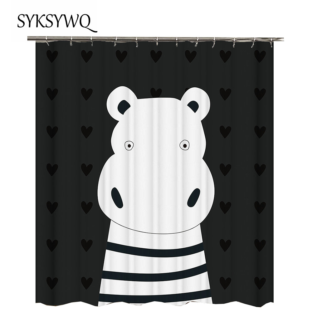 Hippo Shower Curtain White And Black Cortina Ducha Striped Curtains For Bathroom Heart Shape Love Animal In From Home