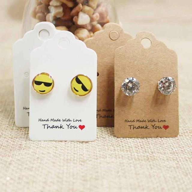 Vintage Kraft Diy Handmade Cardboard Stud Earring Card Tag White Scallop Paper Ng Hang