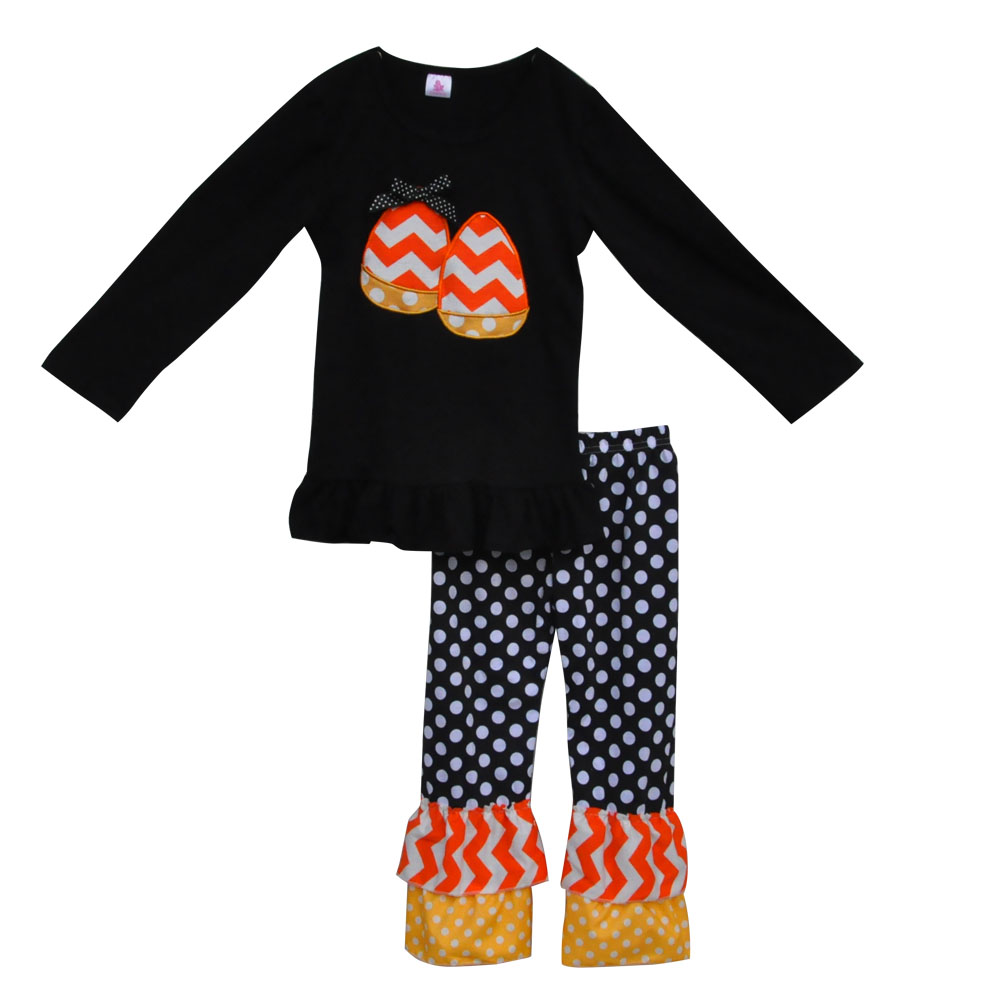 promotion girl clothes set 2016 new style halloween candy corn dress outfit costume suppliers wholesale h018