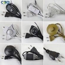 Штепсельная Вилка европейского стандарта с проводом переключателя 1,7 м, диммер, черный/белый кабель для настольной лампы для торшера, 110-220 В, электрический провод