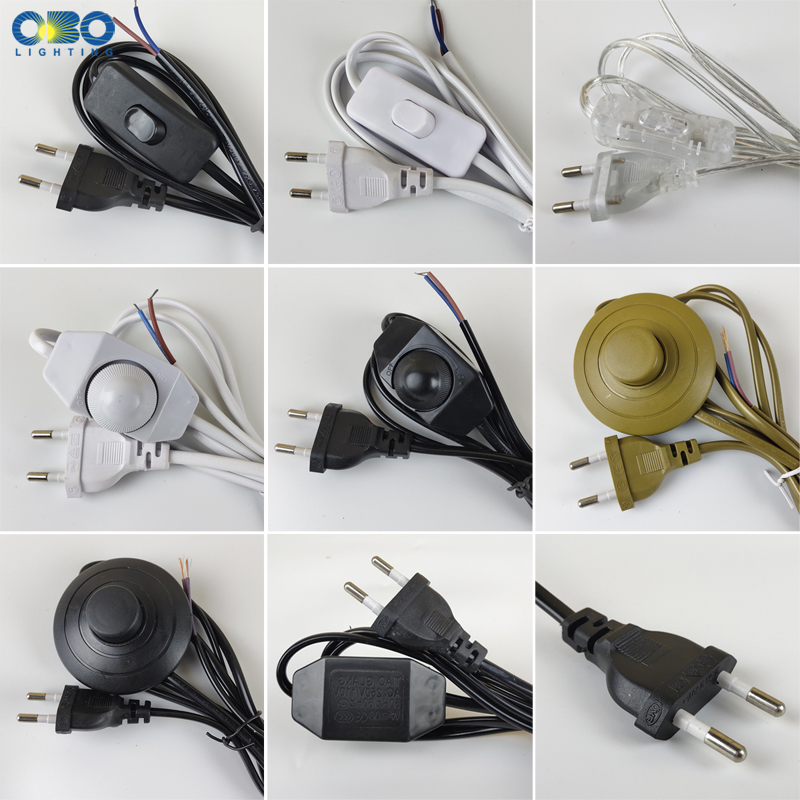 EU Plug With Switch Wire 1.7M Dimmer Black/White Lamp Cable For Table Lamp For Floor Lamp 110-220V Electricity Wire