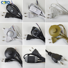 EU Plug With Switch Wire 1.7M Dimmer Black/White Lamp Cable For Table Floor lamp 110-220V Electricity