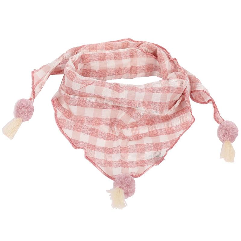 Весенние клетчатые треугольные шарфы в горошек для маленьких девочек; осенне-зимняя шаль для мальчиков и девочек; Детские хлопковые воротники; теплый детский шейный платок - Цвет: pink grid