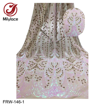 New Arrival African Tulle Lace Fabrics with Sequins 5Yards French Tulle Lace for Women Wedding Party Evening Dress FRW-146