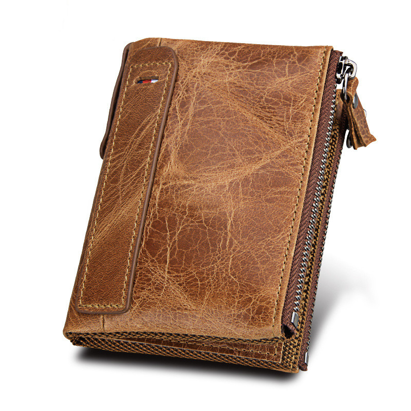 Hamich genuine leather women men wallets lovers double zipper protected RFID mens coin purses short cow leather womens wallets