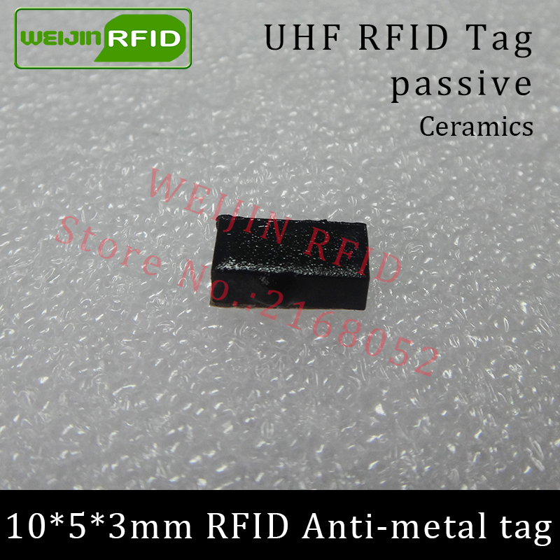 UHF RFID anti metal tag 915m 868mhz Alien Higgs3 EPCC1G2 6C 10*5*3mm very small rectangle Ceramics smart card passive RFID tags uhf rfid metal tag 915mhz 868mhz alien higgs3 epcc1g2 6c 53 13 2 8mm fixed assets management pcb smart card passive rfid tags