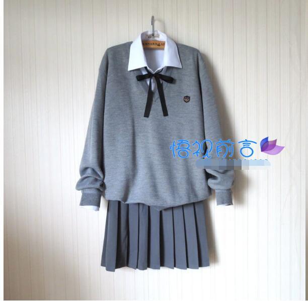 Fashion New S-XXXXL Long-sleeve Sweater Suit Preppy Style JK School Uniform Autumn Sailor Uniform V-neck Sweater+Shirt+Tie+Skirt anne klein new jade long sleeve sequin sweater s $79 dbfl