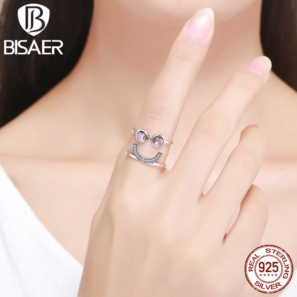 Authentic 100% 925 Sterling Silver Funny Face, Lovely Smiling Face Wide Ladies Finger Rings For Women Sterling Silver Wedding