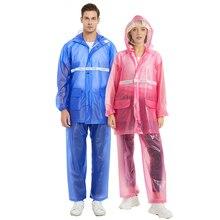 Transparent Raincoat Rain Pants Suit Thicken Waterproof Split Men Ride Motorcycle Coat Female Overalls Outdoor R6