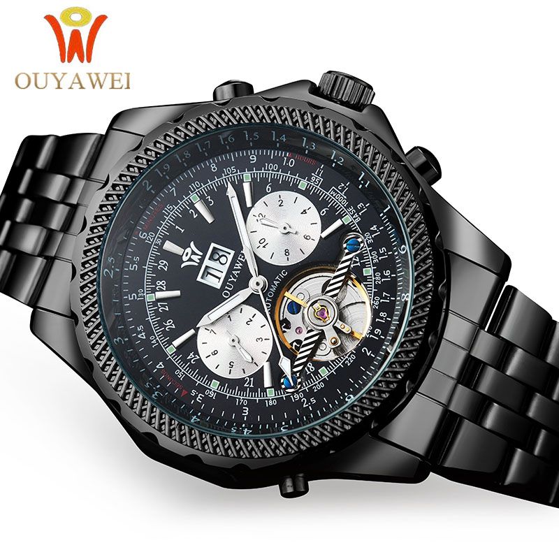OUYAWEI Mechanical Men Watches Luxury Brand Automatic Tourbillon Male Clock Black Gold Wrist Watches For Men Relogio Masculino цены