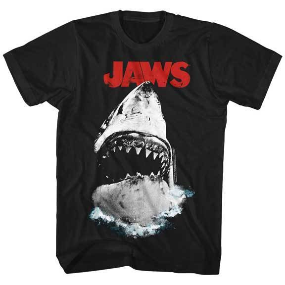 Jaws Great White Shark Coming Out Of The Water Adult T Shirt Great Movie ...