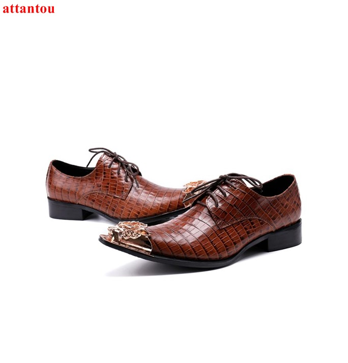 Hot Sale Autumn Lace Up Pointed Toe Men Dress Shoes Brown Leather Luxury Male Casual Shoes Slip-on Man Office Feast Formal Shoes hot sale blue snakeskin pointed toe men dress shoes lace up leather shoes luxury male casual shoes man office feast formal shoes