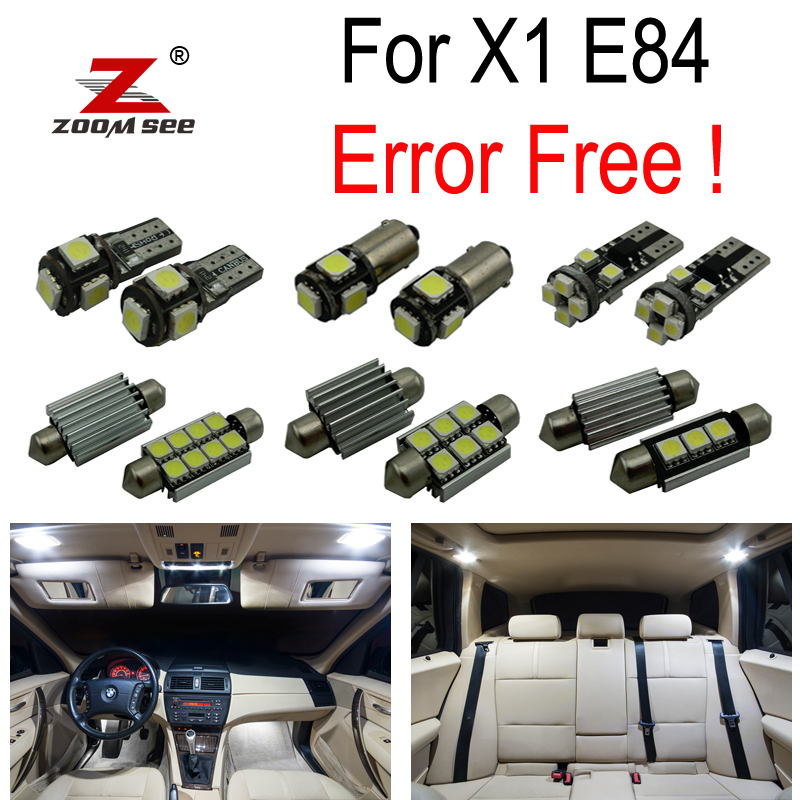 16pcs LED License plate lamp + Interior Dome Map Lights bulb Kit for BMW X1 E84 (2010-2015) buildreamen2 car 5630 chip led bulb white interior led kit package map dome trunk license plate light for ford focus 2008 2011