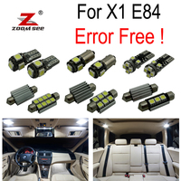 16pcs LED License plate lamp + Interior Dome Map Lights bulb Kit for BMW X1 E84 (2010 2015)