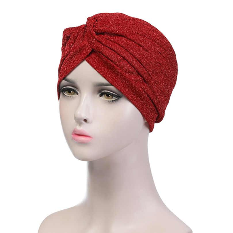 ... Haimeikang Women Bling Silver Gold Knot Twist Turban Headbands Cap  Autumn Warm Headwear Casual Streetwear Female ... 93a5183c2486