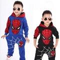 Spiderman Niño con Traje de Juego de Los Deportes 2 Unidades Set 2-7años Muchachos Que Arropan la Capa + Pant Chándales Nuevo 2017 Ropa de Los Niños conjuntos