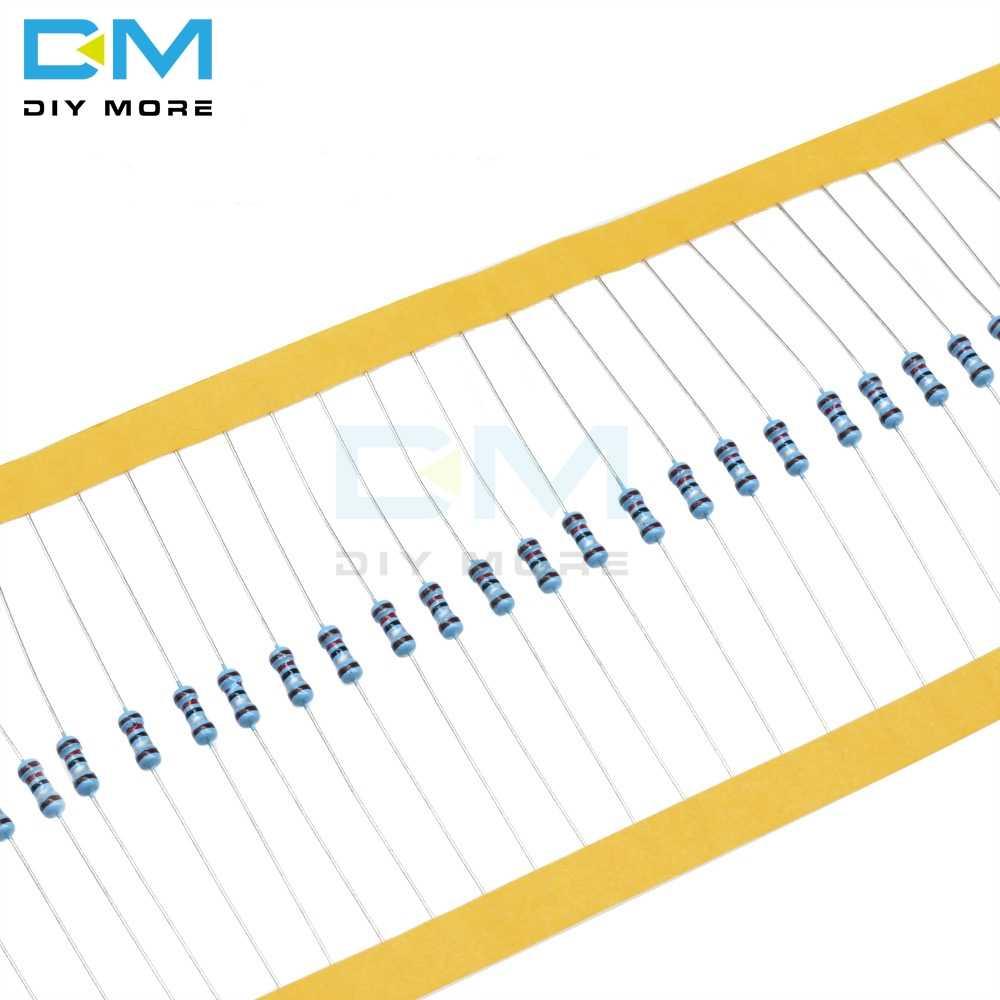 100 قطعة 1/4W 0.25W المعادن مقاوم من غشاء + 1% -1% 0R-10M 0Ohm-10Ohm 100R 220R 330R 1K 1.5K 2.2K 3.3K 4.7K 100K 1M 2M أوم المقاومة