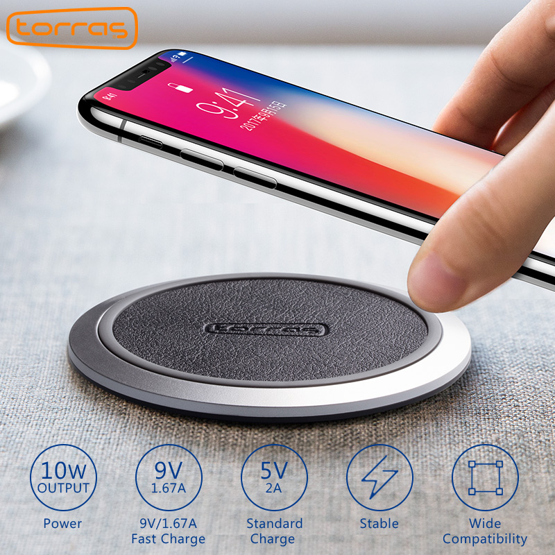 TORRAS Original Qi Wireless Charger for iPhone x 8 8 plus Slim Fast 10W Wireless Charging Pad for Samsung Galaxy S8 Wireless Pad