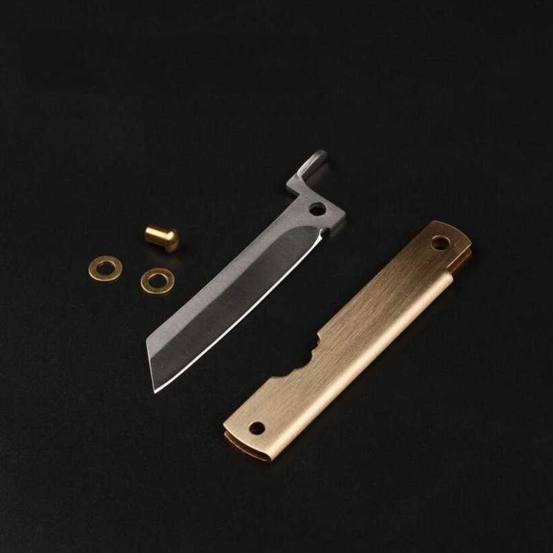 Outdoor portable EDC tools, brass stainless steel DIY mini knife, letter opener, gift pendant brass bell. knife diy shank brass mosaics rivets 90mm length nail steel tube 6mm diy knife handle screw more design exquisite style page 6
