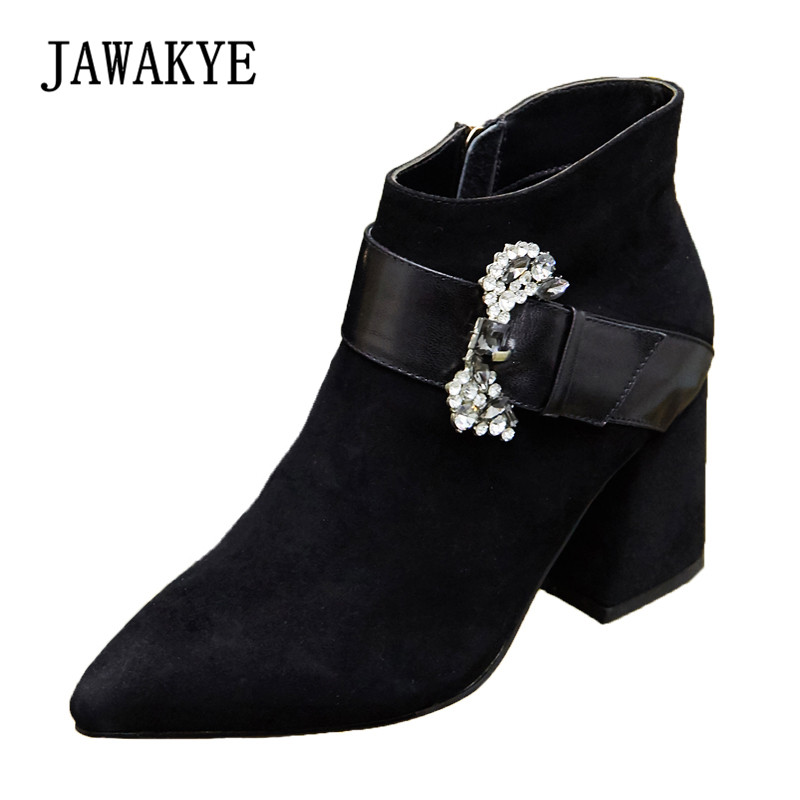 цены 2018 Black Suede Ankle Boots Woman Pointed Toe Rhinestone 8cm Chunky High Heel Boots Women Fashion Martin Boots
