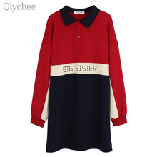 Qlychee Letter Print Polo Shirt Contrast Color Patchwork Long Sleeve Notched Collar Women Tee Top Casual Loose Lady T-shirt
