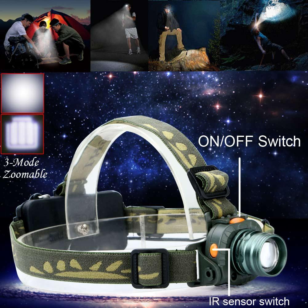High Power CREE LED 2000LM Motion Sensing Zoomable Headlamp Headlight Torch Infrared Sensors Head Flashlight Lamp