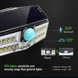 Image 2 - 4 قطعة/الوحدة LITOM الشمسية الجدار أضواء في الهواء الطلق 30 LED محس حركة IP67 مقاوم للماء زاوية واسعة السوبر مشرق الأمن امب Solaire